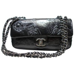 Chanel Precious Symbols Single Flap Bag Embossed Leather Medium Size /Brand New