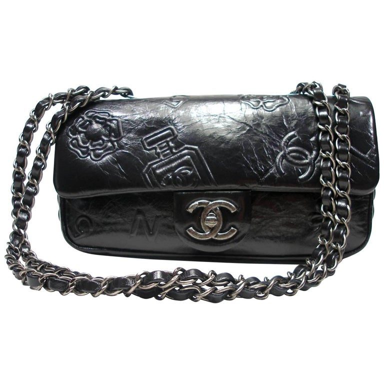 Chanel Precious Symbols Single Flap Bag Embossed Leather Medium Size