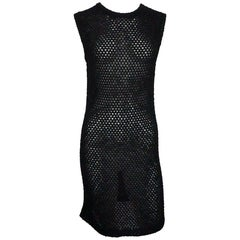 Chanel Black Cotton Crochet Knit Dress