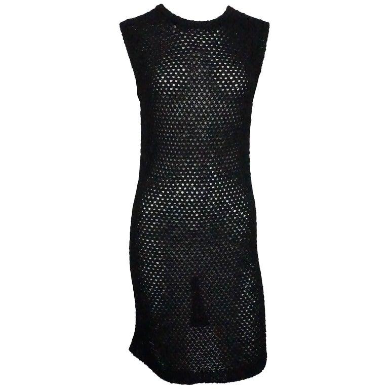 Chanel Black Cotton Crochet Knit Dress