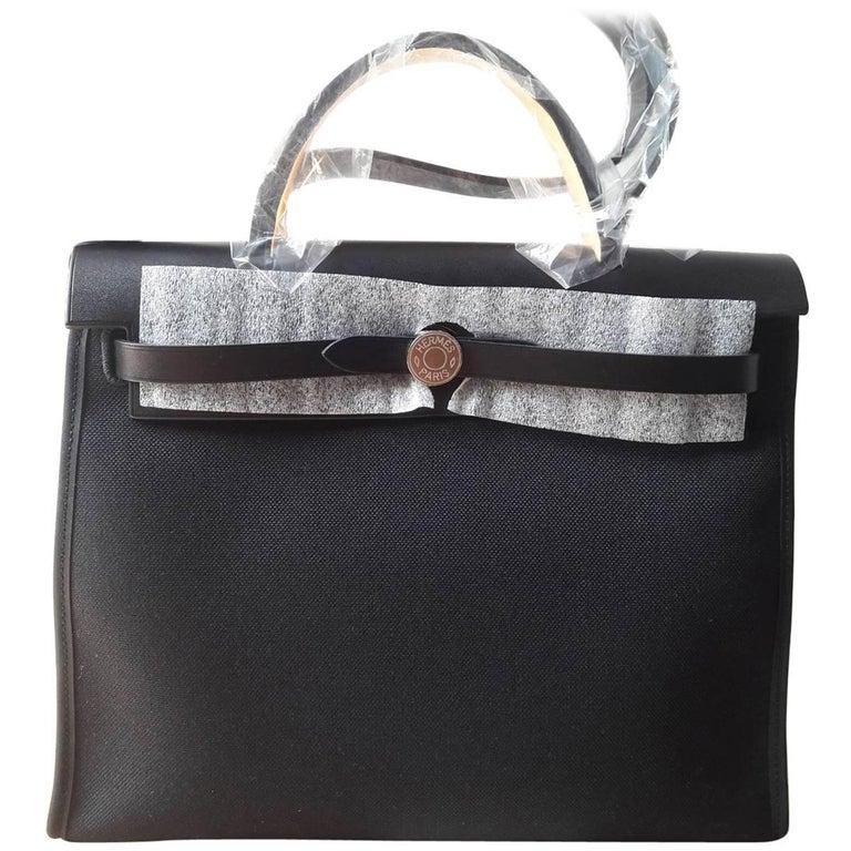 Hermes Herbag 31 Bag Toile Officier/Vache Hunter Noir/Noir