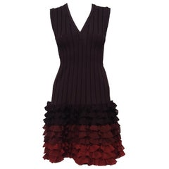 Alaia Brown Ribbed Knit Silk Runway Dress with Ombre Effect and Ruffled Rows
