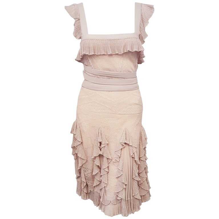 Christian Dior Blush Crochet Collar & Layered Ruffle Skirt 2010/2011 Collection