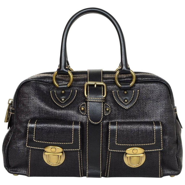 Marc Jacobs Black Woven Blake Handle Bag With Dust For