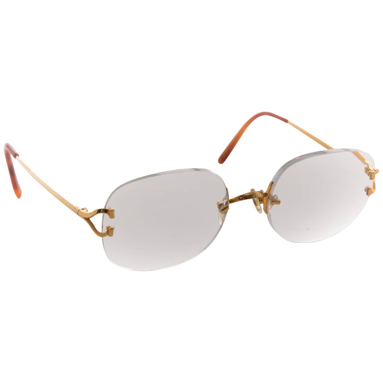 Cartier C Decor Gold Rimless Glasses Circa 1990s At 1stdibs