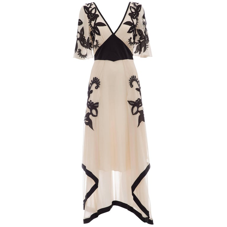 Temperley London Floral Embroidered Silk Chiffon Evening Dress, Spring 2005 For Sale