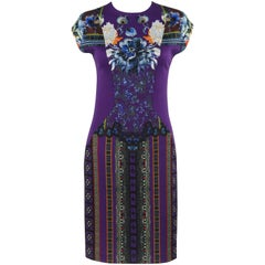 ETRO Purple Floral Print Extended Shoulder Shift Cocktail Dress NWT