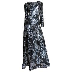 1990s Fabulous Oscar de la Renta Sequin Gown