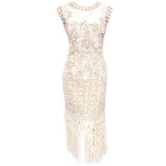 Oscar de la Renta Beige Tulle Lace Dress with Tassel Hem