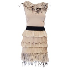Valentino Beige Sleeveless Knit Dress with Ostrich Feather Accents