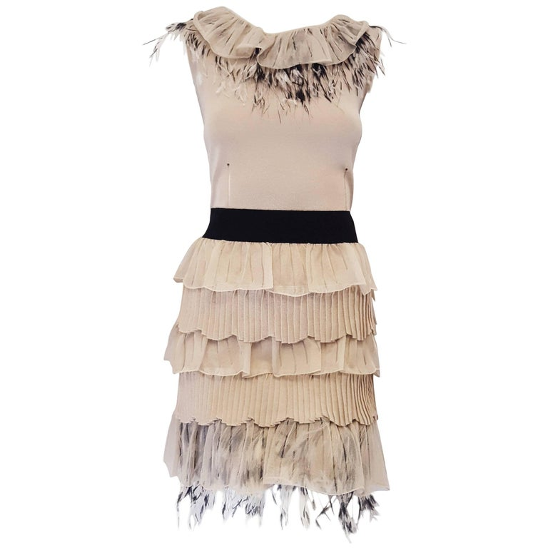 7b589cf714 Valentino Beige Sleeveless Knit Dress with Ostrich Feather Accents For Sale