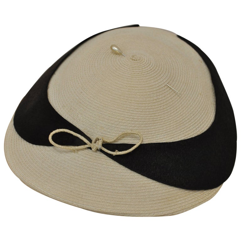 1940s Ivory and Black Straw Hat with Pearl Pin