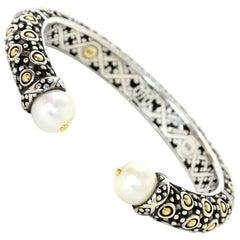 John Hardy Sterling, 18k Gold & Pearl Jaisalmer Dot Hinge Bracelet with Dust Bag