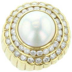 18K Yellow Gold, Mabe Pearl and Diamond Ring