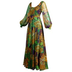 1970s Vintage Tropical Print Sheer Sleeves Chiffon Maxi Dress with Full Sweep