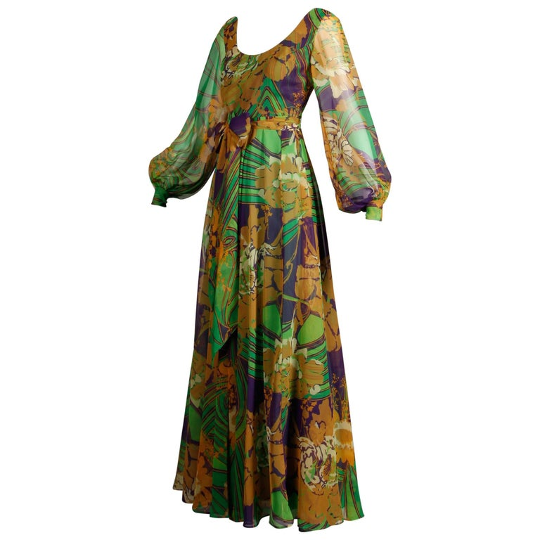 d0191ada3b 1970s Vintage Tropical Print Sheer Sleeves Chiffon Maxi Dress with Full  Sweep For Sale
