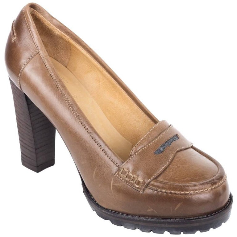 6d043e8053b Brunello Cucinelli Womens Distressed Brown Penny Loafers Pumps For Sale