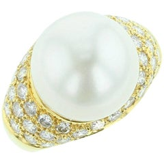 18K Yellow Gold, Cultured Pearl and Diamond Ring
