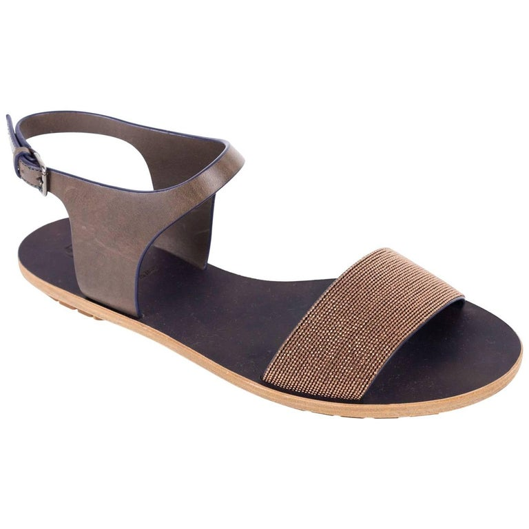ba7902c878c6 Brunello Cucinelli Womens Brown Ankle Gold Monili Leather Sandals For Sale  at 1stdibs