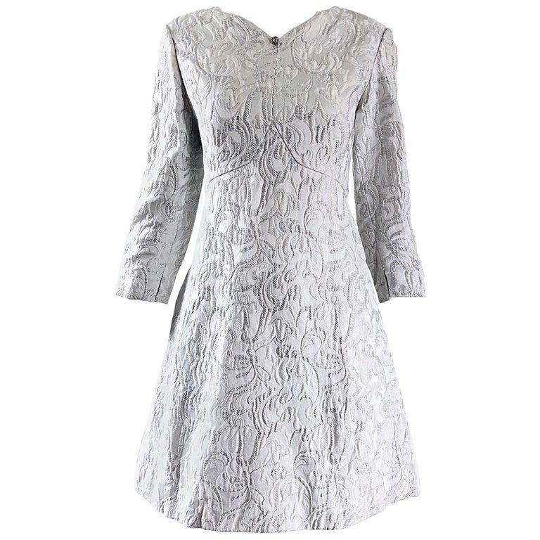 Documented Ceil Chapman 1960s Silver White Silk Brocade Vintage 60s A Line Dress