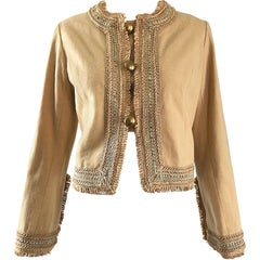 1960s Jay Morley for Fern Violette Camel Tan Sequined Vintage 60s Crop Jacket