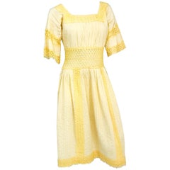 1960s Yellow Pleated Lace Dress