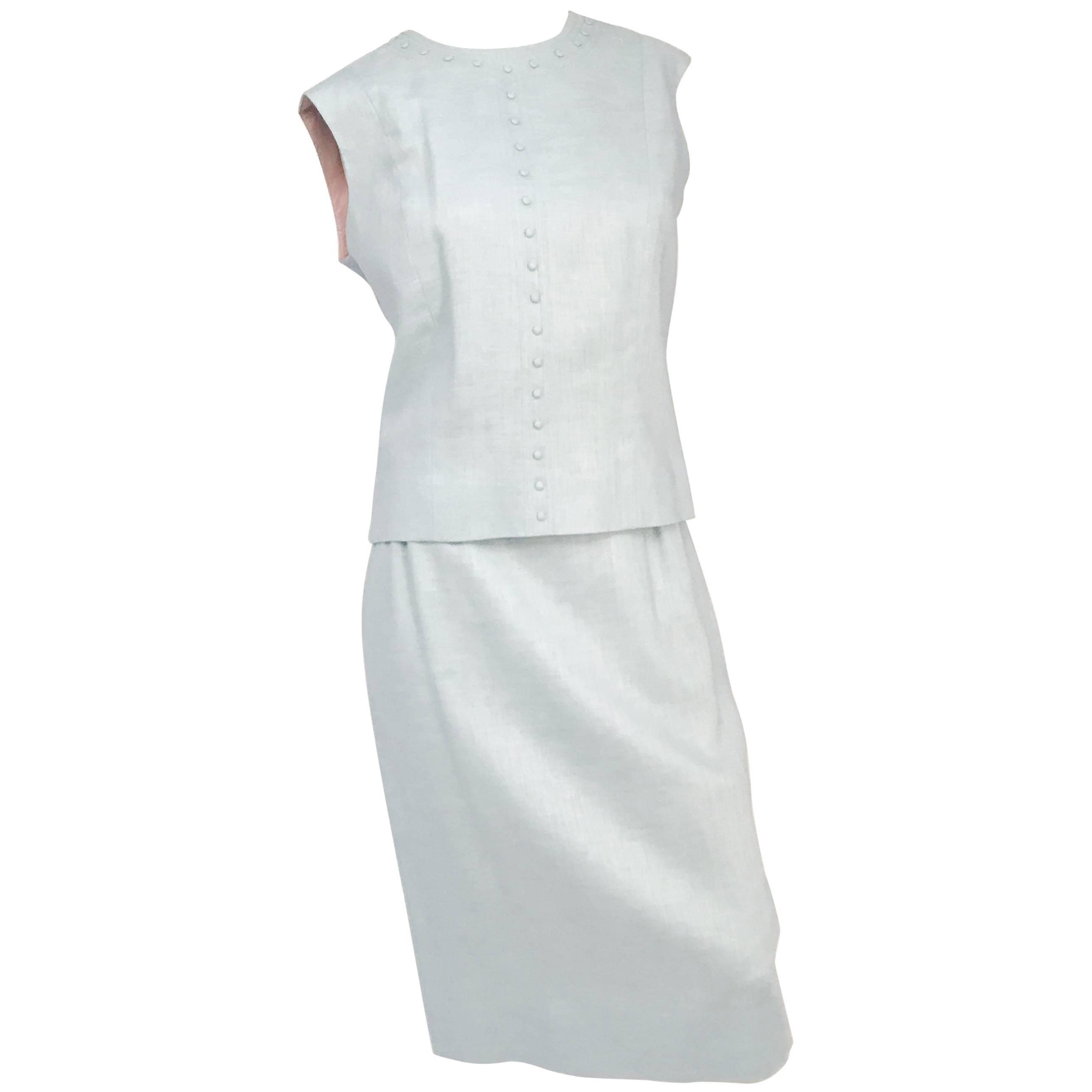 1960s Light Blue Linen Skirt/Top Set