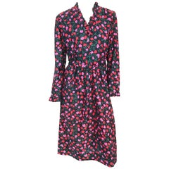 1970s I. Magnin Floral Dress with Matching Belt, Ruffled Neckline, and Sleeves