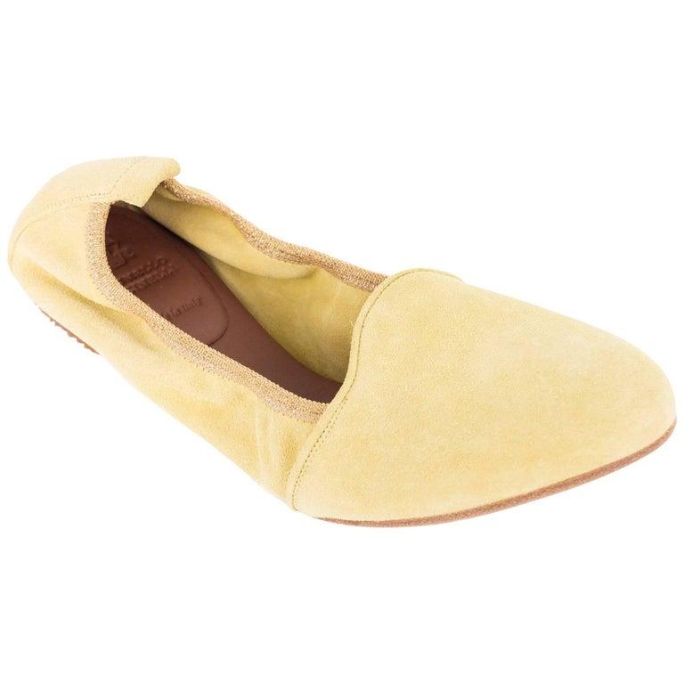 Brunello Cucinelli Pale Yellow Suede Glitter Trimmed Ballet Flats