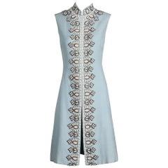 Seaton Vintage Powder Blue Embellished Silk Beaded and Rhinestone Dress, 1960s