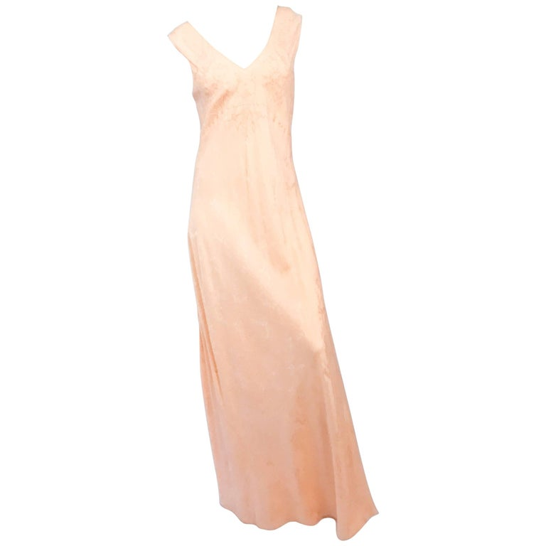 b0621ab49d0d 1930s Coral Jacquard Silk Bias Cut Slip Dress For Sale at 1stdibs