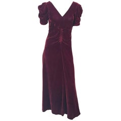 1930s Dark Rust Silk Velvet Ruched Evening Gown