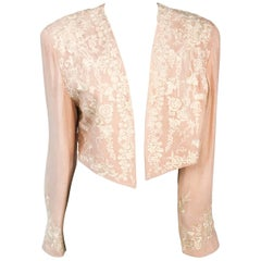 1980s Pale Rose Silk Embroidered Bolero