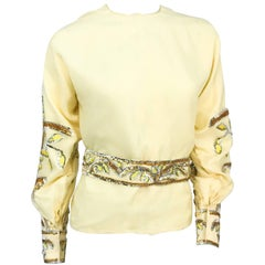 1960s Handmade Yellow Sequin Top and Belt Set with Flared Cuffs
