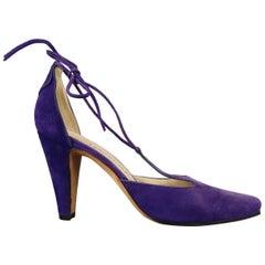 Manolo Blahnik Purple Suede Pointed Toe Tied T Strap Pumps