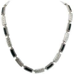 1980s Napier Silver-tone Enamel Necklace
