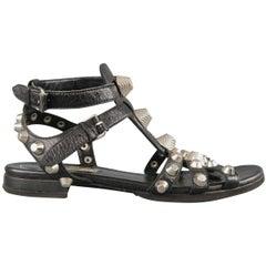 Balenciaga Black Leather Silver Arena Gladiator Flat Sandals