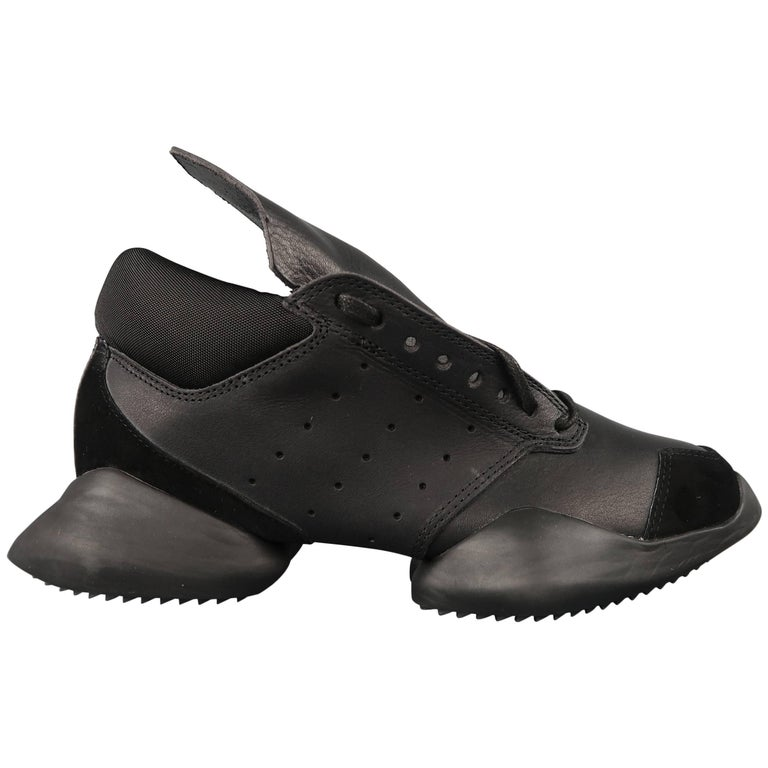 7d01a2cf9e7 Rick Owens Adidas Women s Black Leather Runner Sneakers at 1stdibs