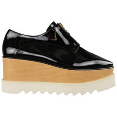 STELLA McCARTNEY Size 8 Black Platform Faux Patent Leather ELYSE Platforms