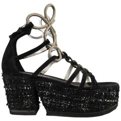 Chanel Size 7US Black Suede and Metal Gladiator Tweed Platform Wedge Sandals