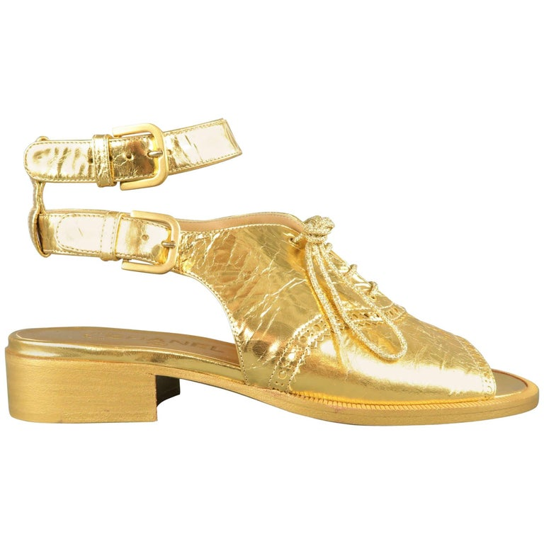 Chanel Size 7 Gold Metallic Leather Peep Toe Ankle Strap Oxford Sandals