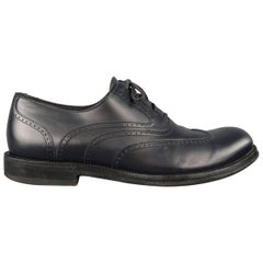 Bottega Veneta Men's Navy Perforated Leather Wing Tip Lace Up dress shoes
