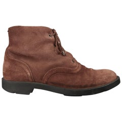 Bottega Veneta Men's Brown Suede Shearling Lined Ankle Boots
