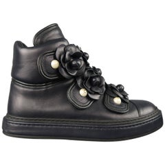 Chanel Navy Leather Camellia Pearl Stud High Top Sneakers