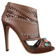 Gucci Tan Leather LIKA Stone Embellished Peep Toe Sandals