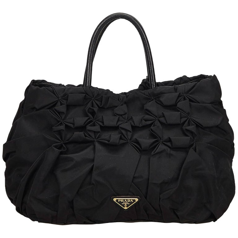 Prada Black Gathered Nylon Handbag
