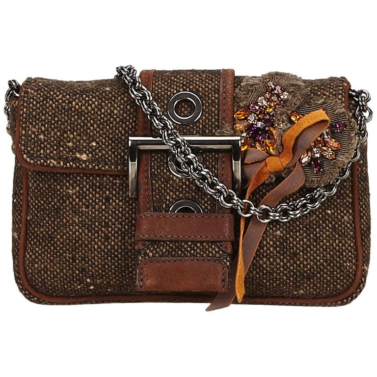 Prada Brown x Multi Embellished Tweed Chain Handbag