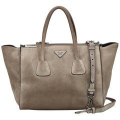 Prada Gray Suede Twin Pocket Bag