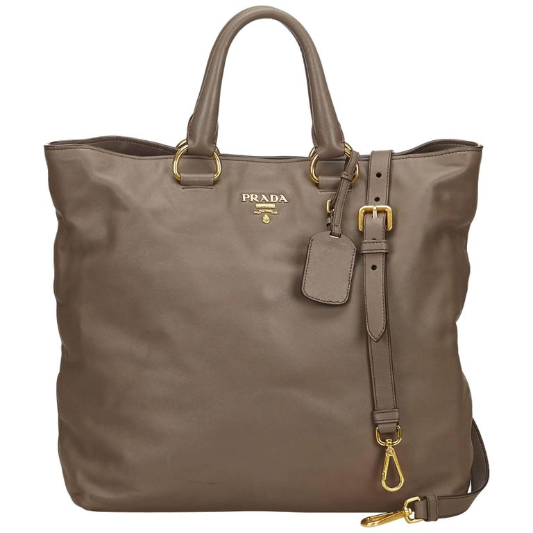 e800ed8f78 Prada Brown Vitello Daino Satchel For Sale at 1stdibs