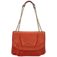 MCM Orange Leather Chain Shoulder Bag